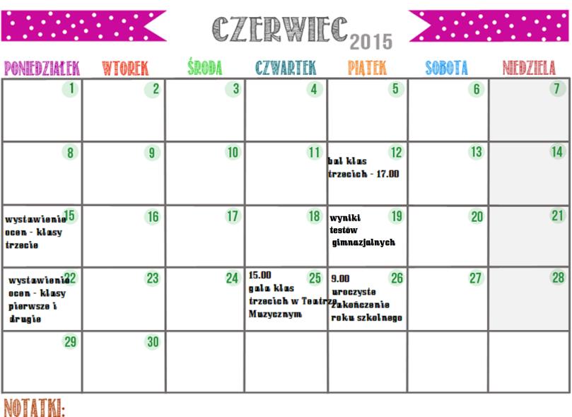 czerwiec - kartka z kalendarza